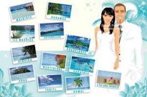 Plan de tables de mariage original thème voyage île plage mer tropiques bambou cocotier cartes postales placement destinations