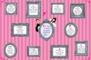 Plan de tables de mariage original placement thème baroque princesse il était une fois miroir féérique