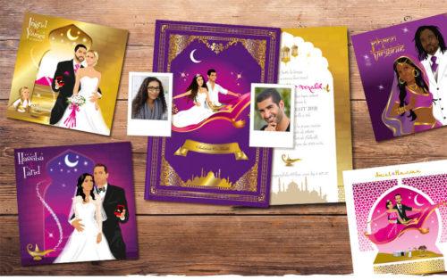 Mariage oriental 1001 nuits - faire-part original, invitation ou save the date sur tapis volant comme Aladdin et Shéhérazade. Portraits dessin caricature - blanc or et violet Bollywood chic vintage et romantique