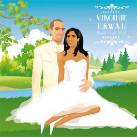 Faire-part de mariage original - dessin d'après photos. Thème nature - vert anis blanc fleurs papillons champêtre chic bucolique picnic chic pic nic chic élaguant déjeuner sur l'herbe