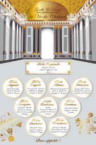 Plan de tables de mariage original placement thème château Versailles or argent doré palais glaces