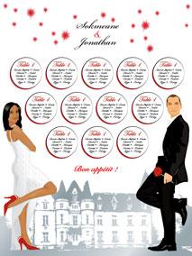 Plan de tables de mariage original placement thème château romantique