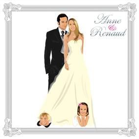 Faire-part de mariage dessin original d'après photos. Thème chic avec enfants sous robe de mariée - enfant annonce mariage © Studio Postscriptum