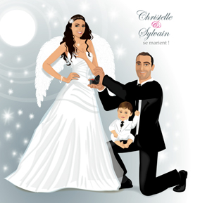 Faire-part de mariage dessin original d'après photos. Thème ange plumes avec enfants sur genoux papa - enfant annonce mariage © Studio Postscriptum