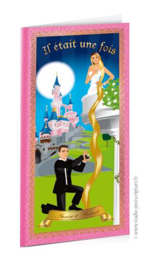 faire-part de mariage original romantique conte de fée, princesse, cendrillon prince charmant Il était une fois Couple de mariés en prince charmant et princesse style cendrillon - scène balcon raiponce cheveux avec le château de la Belle au bois dormant