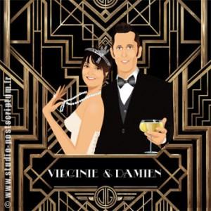 Faire-part de mariage romantique rétro vintage original Gatsby le magnifique 20's années 20
