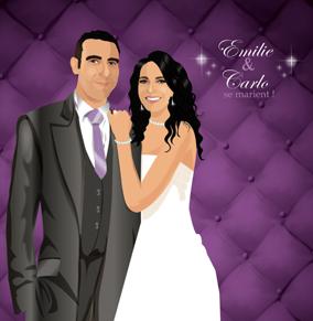Faire-part de mariage dessin original d'après photos. Thème chic glamour lounge matelassé - violet © Studio Postscriptum