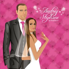 Faire-part de mariage dessin original d'après photos. Thème chic glamour lounge matelassé - rose © Studio Postscriptum
