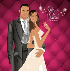 Faire-part de mariage dessin original d'après photos. Thème chic glamour lounge matelassé - rose fushia © Studio Postscriptum