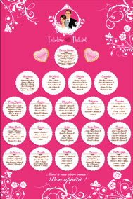 Plan de tables de mariage original placement thème chocolat bonbon gourmandise gâteau biscuit
