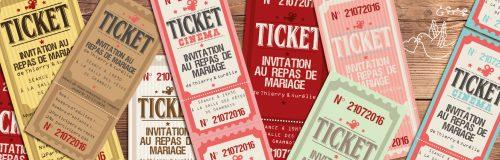 ticket cinéma mariage original vintage rétro - bohème champêtre couleurs poudré rose vert bleu tendre clair beige - studio postscriptum