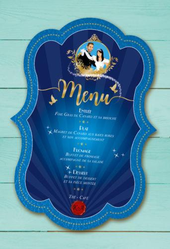 Mariage princesse- menu forme de découpe - style romantique vintage et rétro original