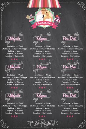 plan de table mariage original - gourmandise - crai tableau ardoise chic vintage et romantique bonbon candybar et pâtisserie cupcake romantique vintage rose fuschia