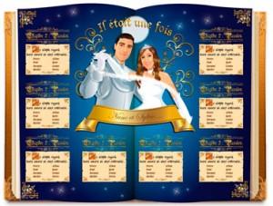 Plan de tables de mariage original placement thème baroque princesse il était une fois féérique conte de fées livre