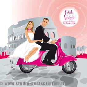 Faire-part de mariage romantique rétro vintage original vieux rose poudré Dolce vita scooter vespa Rome Italie