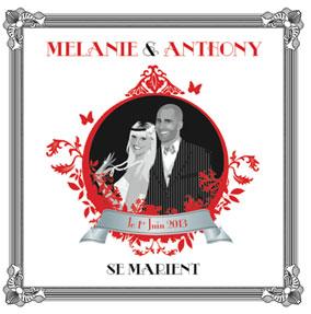 Faire-part de mariage romantique rétro vintage original noir et blanc rouge années 20 20's