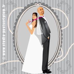 Faire-part de mariage romantique rétro vintage original gris perle années 20 20's