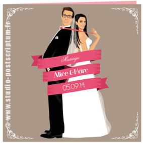 Faire-part de mariage romantique rétro vintage original vieux rose poudré fuschia ruban taupe