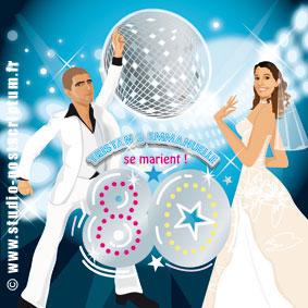 Faire-part de mariage romantique rétro vintage original diso saturday nigh fever la fièvre du samedi soir travolta années 80 80's