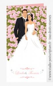 Faire-part de mariage romantique bucolique rose