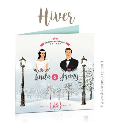 Faire-part de mariage original romantique vintage poudré dessin d'après vos photos : faire-part originaux hiver