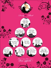 Plan de tables de mariage original placement thème voyage villes paris new-york londres destinations