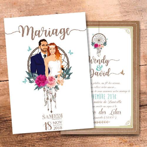 Mariage bohème dreamcatcher-attrape-rêve - Faire-part, invitation ou save the date, thème boho rustique avec kraft, fleurs