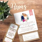 Coupon - invitation au repas de mariage style vintage attrape rêves - dream catcher - effet kraft vieux papier champêtre - vert tendre pastel - Ticket cinéma vintage champêtre