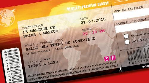 Billet d'avion ou train – ticket embarquement rétro vintage Thème voyage afrique safari africain Invitation au repas de mariage ou au brunch du lendemain