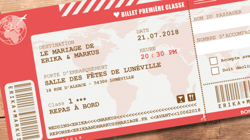 Billet d'avion ou train – ticket embarquement rétro vintage Thème vintage rouge rose orange corail