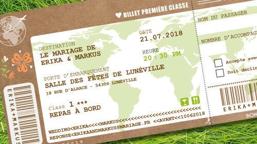Billet d'avion ou train – ticket embarquement rétro vintage Thème nature champêtre bohème vert kraft rustique