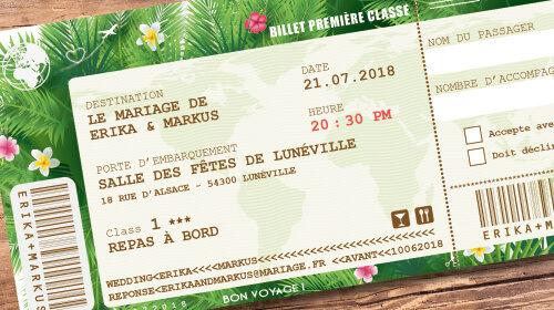 Billet d'avion ou train – ticket embarquement vintage tropical Thème plage tropiques – jungle palmiers Invitation au repas de mariage ou au brunch du lendemain