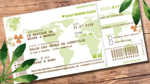 Billet d'avion ou train – ticket embarquement rétro vintage Thème nature champêtre bohème vert Invitation au repas de mariage ou au brunch du lendemain