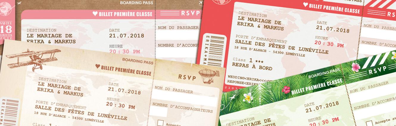 Billet d'avion ou train – ticket embarquement rétro vintage Thème voyage. Invitation au repas de mariage ou au brunch du lendemain
