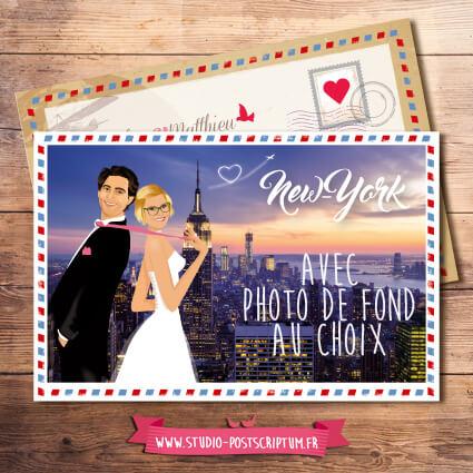 faire-part mariage carte postale New-york airmail vintage kraft dessin d'après photos