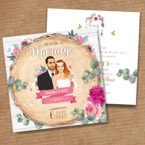 Faire-part de mariage original – fond rondelle de bois Couple sur fond bois nature champêtre – fond fleurs