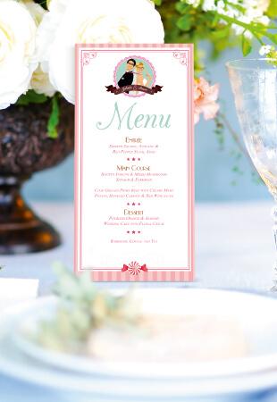 menu de mariage original gourmandise chocolat bonbon candybar et cupcake romantique vintage poudré pois - Portraits dessin caricature - chic vintage et romantique