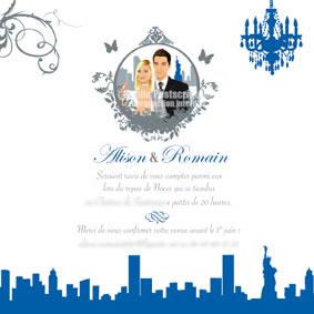 Coupon repas assorti à un faire-part de mariage original moderne personnalisable – thème voyage New-York