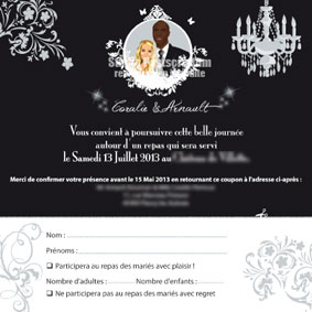 Coupon repas assorti à un faire-part de mariage original moderne personnalisable – baroque noir blanc chic - coupon réponse
