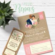 Coupon - invitation au repas de mariage style vintage rétro - effet kraft vieux papier champêtre - vert tendre pastel Ticket cinéma vintage champêtre