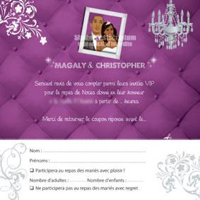 Coupon repas assorti à un faire-part de mariage original moderne personnalisable – baroque violet argent matelassé cosy lounge chic VIP -