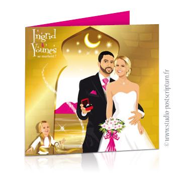 Faire-part de mariage original avec enfant – dessin d'après photos. Couple de mariés avec enfant qui frotte lampe de génie thème oriental 1001 nuits Aladin – Annonce du mariage faite par un enfant