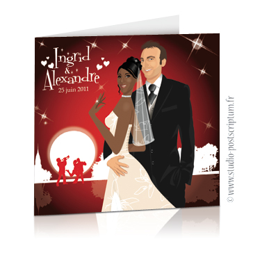 Faire-part de mariage original amour romantique Amoureux sur un fond rouge nuit avec orchestre et coeurs blancs Chic, sobre et élégant