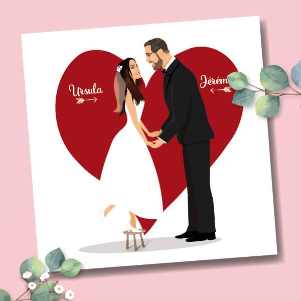 Faire-part de mariage original amour romantique Caricature mariés sur fond coeur rouge Drôle, original et unique © www.studio-postscriptum.fr