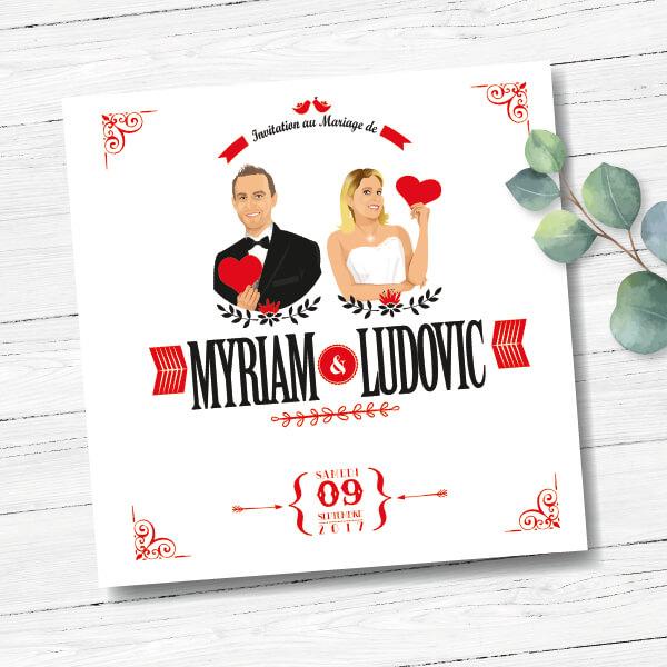 Faire-part de mariage original amour romantique Couple amoureux – pose amusante avec coeurs rouges Chic, sobre et élégant