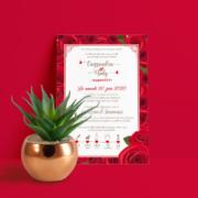 Faire-part de mariage original – thème Amour Chic Rouge et blanc avec bouquet de roses rouge en coeur Chic, sobre et élégant © www.studio-postscriptum.fr