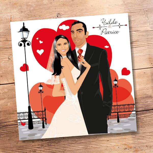 Faire-part de mariage original amour romantique Amoureux sur un fond de ville avec des coeurs rouges Chic, sobre et élégant