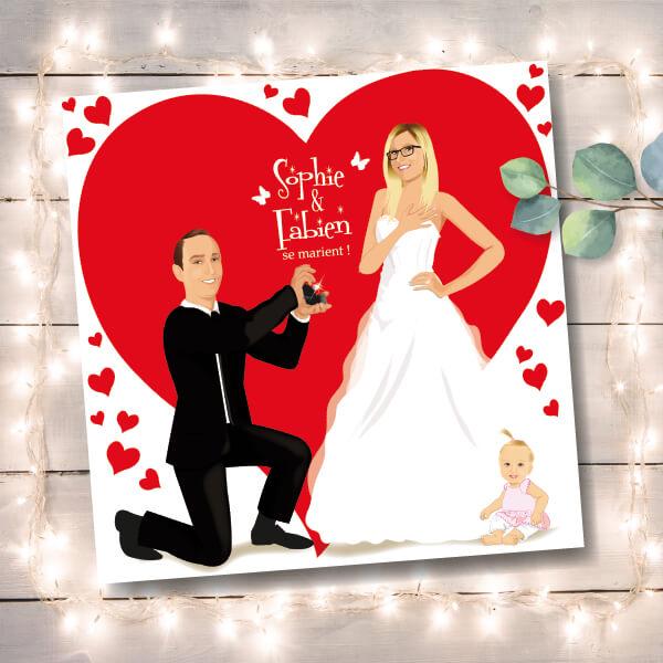 Faire-part de mariage original amour romantique Couple amoureux – pose fiançailles sur un fond avec coeurs Chic, sobre et élégant