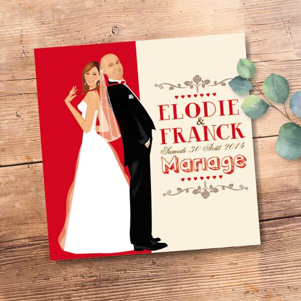 Faire-part de mariage original amour champêtre Couple d'amoureux sur un fond rouge kraft Vintage, chic et original