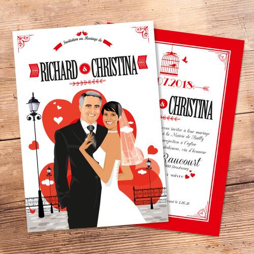 Faire-part mariage coeur amour rouge blanc et noir - Faire-part, invitation ou save the date, Portraits dessin caricature - chic vintage et romantique.